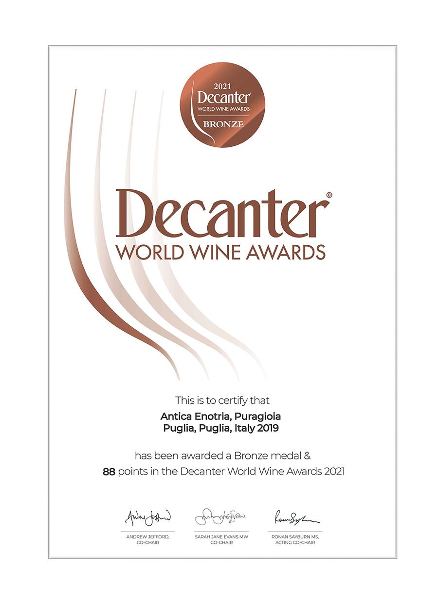 Puragioia al Decanter World Wine Awards 2021